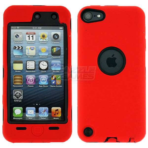 red deluxe hybrid hard gel case cover for ipod touch 5th. Black Bedroom Furniture Sets. Home Design Ideas